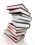 books on glossy white poster
