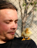 young man and little duck on his shoulder poster