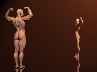 body building, shadow play
