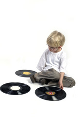 young boy with vinyl