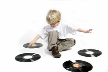 toddler with black vinyl