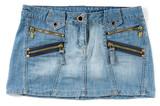 blue female jeans mini skirt poster