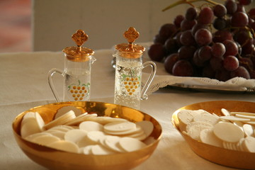 communion host and wine