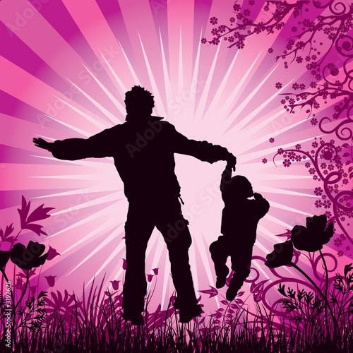 Plexiglas Roze happy family