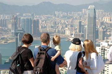 famly sightseeing the hong kong skyline
