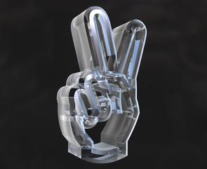simbolo vittoria con mano in vetro trasparente