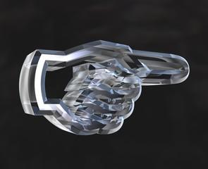 simbolo mano indice con dito in vetro trasparente