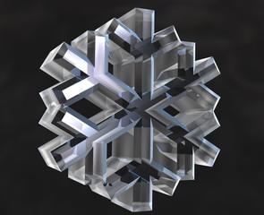 simbolo fiocco di neve in vetro trasparente