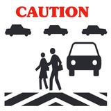pedestrian caution poster