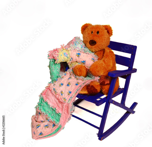 teddy bear and rocking chair