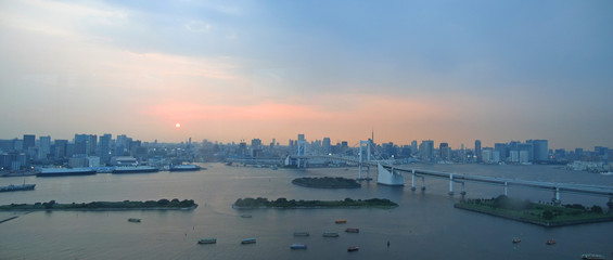 bay of the city with the harbour at the sunset, tokyo, japan, pa