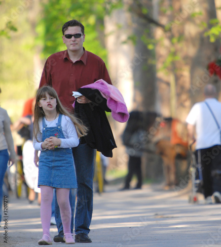 daughter and father outside