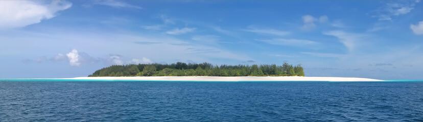 blue see and white sand of the mnemba atoll, zanzibar, tanzania,