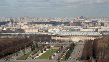 panorama of moscow and luzhniki stadium.