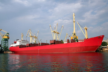 red tanker in harbour.