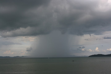 downpour on the sea