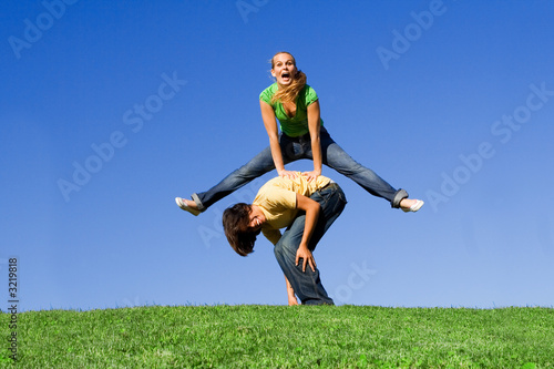 leapfrog, happy smiling youth