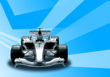 formula one car in blue background poster