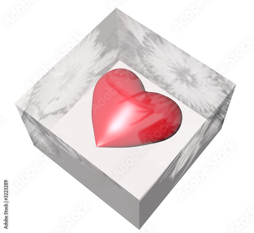 3d red ice heart