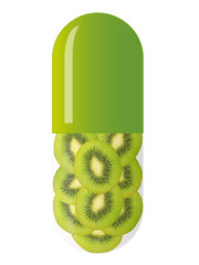 green capsule with kiwi slices