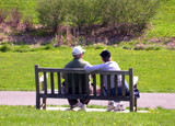 elderly couple on bench 2 poster