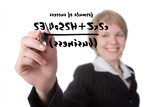 young businesswoman write formula of success poster