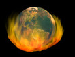 burning earth, isolated on black