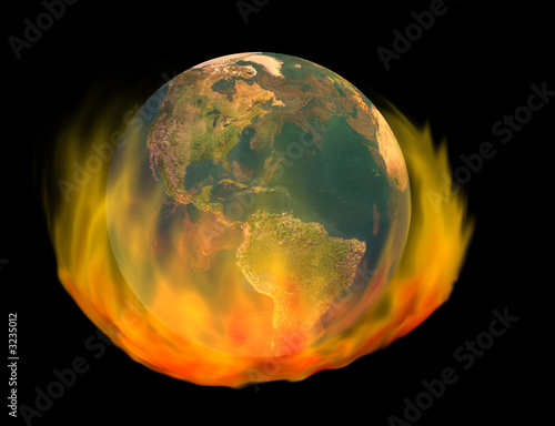 burning earth, isolated on black