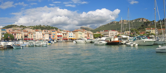 small provencal village harbour with many sea boats, cassis, mar