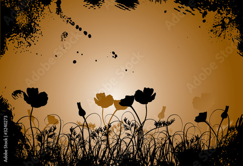 canvas print picture grunge grass and poppy