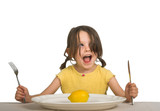 little girl thrilled with lemon on her plate poster