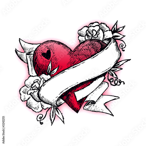 rose and heart tattoos. tattoo heart