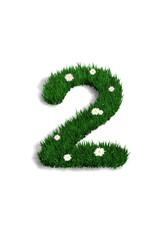 chiffre 2 pelouse fleurie
