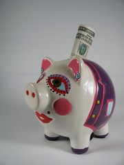 piggy pink ceramic bank