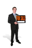 business man selling (focus on man) poster