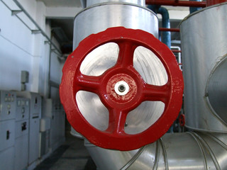 red valve in machinery room