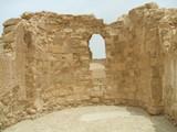 window in ruin/ancient building in caesarea/israel poster