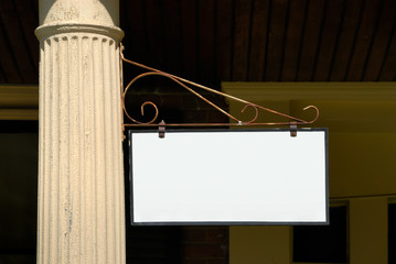 blank sign on column