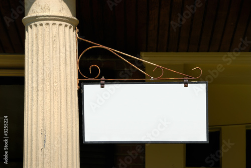 blank sign on column