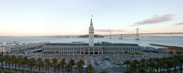 panorama after sunset of ferry building