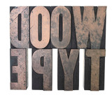 the words 'wood type' in old wood letters