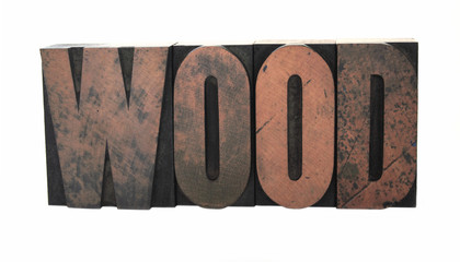 the word 'wood' in old wood letters