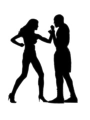 woman versus man fight white