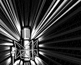 microphone with a light explosion poster