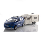 car with caravan poster