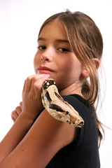 child with pet snake