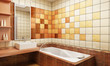 tiled design of the bathroom