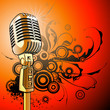 Quadro gold vintage microphone