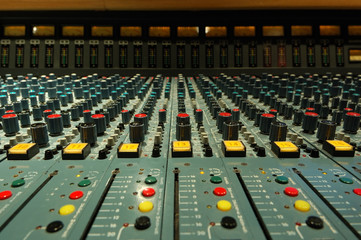 mixing console close-up shot