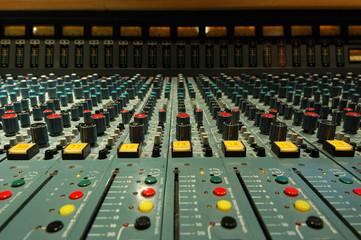 mixing console close-up shot